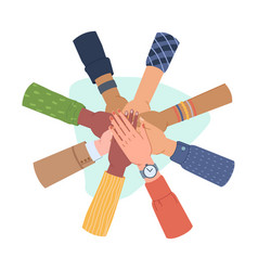 group people putting hands together diversity vector image