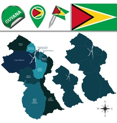 Guyana map with named divisions vector image