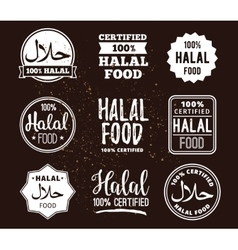 Halal food labels set Badges design vector