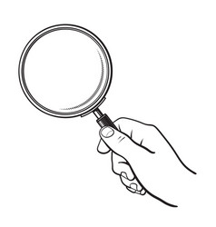 hand holding magnifying glass search and analysis vector image