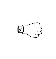 hand wearing smart watch with incoming call hand vector image