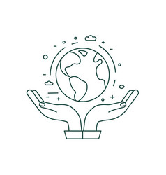 Hands holding planet earth icon in line art vector