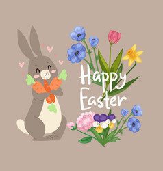 happy easter card with cute rabbit with carrot and vector image
