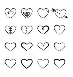 Heart outline black color set vector