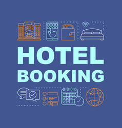 Hotel booking word concepts banner vector