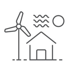 house with windmill thin line icon real estate vector image