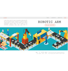 Isometric automated factory web page template vector