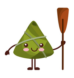 Kawaii happy rice dumpling holding wooden oar vector