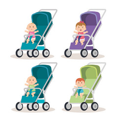 Little babys in carts characters vector