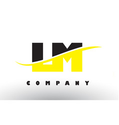 Lm l m black and yellow letter logo with swoosh vector