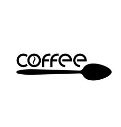Logo or emblem of coffee with a word and a spoon vector