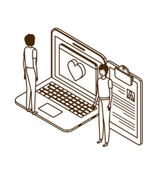 Man with desktop computer screen and email vector