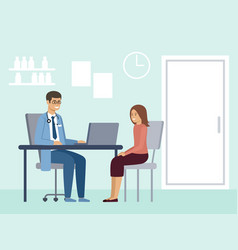 medical consultation diagnosis a patient a vector image