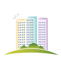 Modern building and green landscape logo vector
