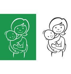 Mother and little baby sign vector