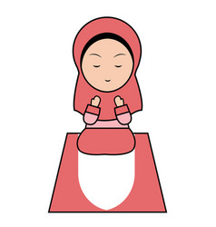muslim girl pray vector image