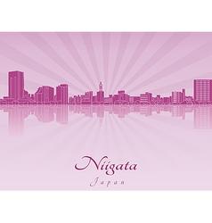 Niigata skyline in purple radiant orchid vector