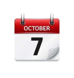 October 7 flat daily calendar icon Date vector image