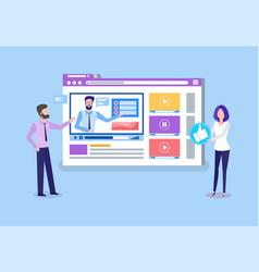 Online courses teachers uploading tutoring videos vector