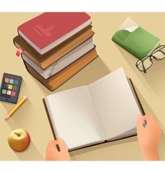 Open book background flat design vector