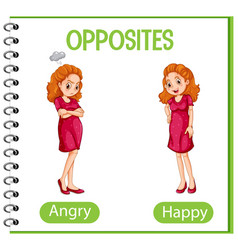 Opposite words with angry and happy vector