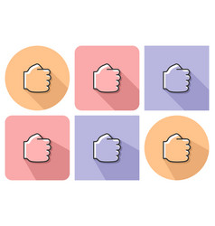 outlined icon of fist with parallel vector image