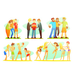 people performing summer outdoor activities on the vector image