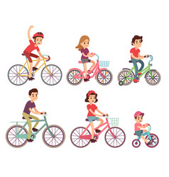 People riding bike flat cyclist on bicycles vector