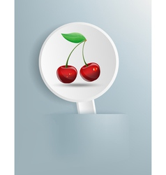 Picture cherries on white plate vector