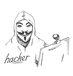 portrait of hacker with mask vector image