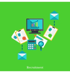 Recruitment and employment flat concept vector image
