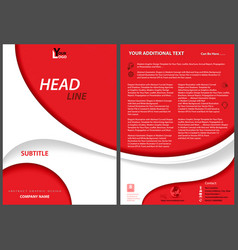 Red flyer template with white abstract shapes vector