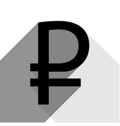 ruble sign black icon with two flat gray vector image