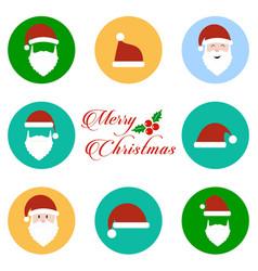 santa clause icons set vector image