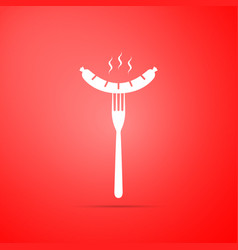 sausage on fork icon isolated on red background vector image