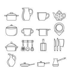 Set flat black line dishes items vector