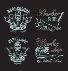 set in vintage style for barbershop vector image