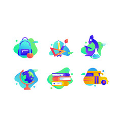 set school icons vector image