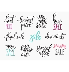 Shopping retail sale discount lettering set vector