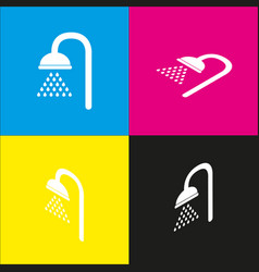shower sign white icon with isometric vector image