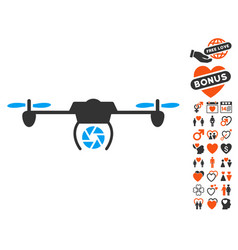 shutter spy airdrone icon with love bonus vector image