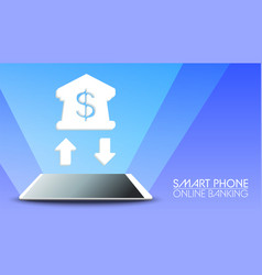 smart phone online banking on blue background vector image