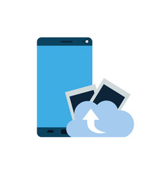 smartphone screen with cloud download isolated vector image