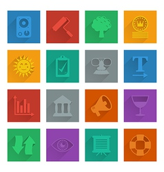 Square media icons set 5 vector