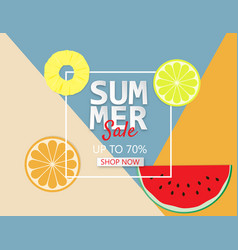 summer sale background with pineapple orange and vector image