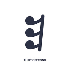 Thirty second note rest icon on white background vector