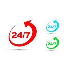 twenty four seven icon set vector image