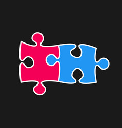 two piece puzzle 2 step jigsaw logo vector image