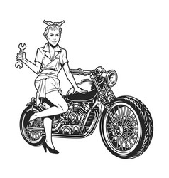 vintage motorcycle monochrome concept vector image