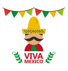 viva mexico man wearing traditional clothes hat vector image